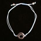 KS20 Stoffarmband hellblau Krone 10 mm Silber rhodiniert