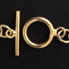 V109 Knebelverschluss Silber vergoldet